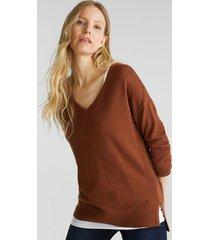 sweater cuello en v algodón ecológico marrón esprit