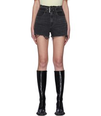 belted paper bag waist denim shorts