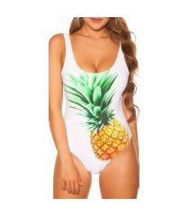 trendy zwempak-badpak met ananas-print gewatteerd wit