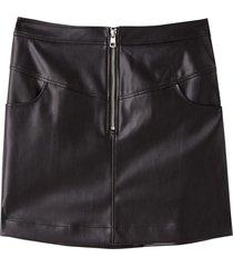 minifalda de piel sintética negro calvin klein