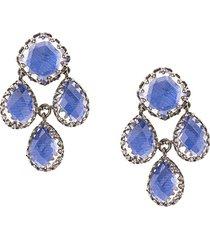 larkspur & hawk antoinette girandole cobalt earrings - silver