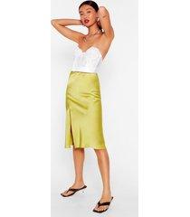 womens slit the mark satin midi skirt - lime