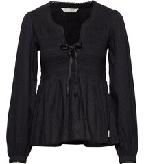 dotty dobby blouse blouse lange mouwen zwart odd molly