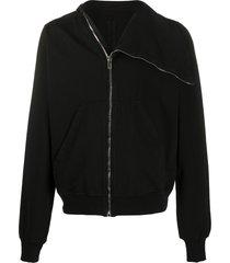 rick owens drkshdw side zip high collar jacket - black