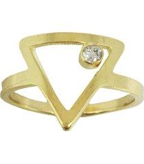 anel kumbayá triângulo ponto de luz semijoia banho de ouro 18k cravaçáo de zircônia - tricae