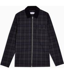mens multi black watch zip overshirt