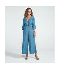 macacão pantacourt jeans liso com amarração | marfinno | azul | p