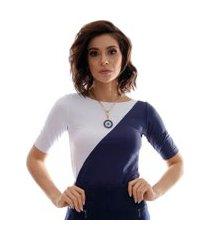 blusa com duas cores azul marinho e branca feminina meia manga decote canoa