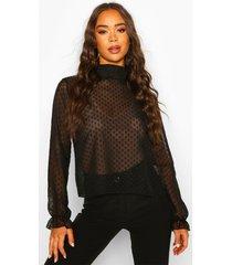 dobby mesh high neck blouse, black