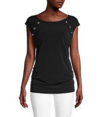 calvin klein women's button cap-sleeve top - black - size m