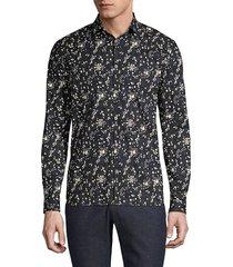 john varvatos men's ross slim-fit floral shirt - black - size l