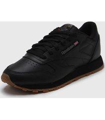 zapatilla negra reebok classic leatherr