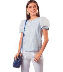 blusa adrissa mezcla de telas a rayas con volumen en mangas azul claro