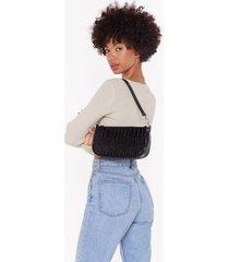 womens want all that we want croc shoulder bag - black