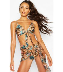 tropical leopard beach sarong, brown