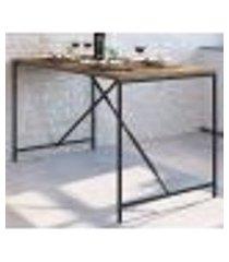 mesa de jantar 136x69 steel quadra 27818 vermont preto fosco artesano