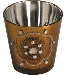 candelabro de vidro com miçanga golden