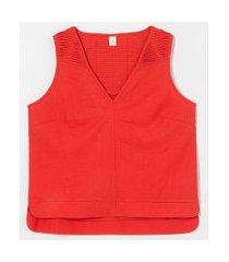 blusa regata gola v com detalhe de pregas nos ombros   marfinno   laranja   g