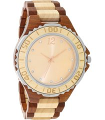 inc men's two-tone wood bracelet watch 45mm, created for macy's