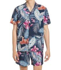 men's open edit short sleeve button-up swim shirt, size small - blue