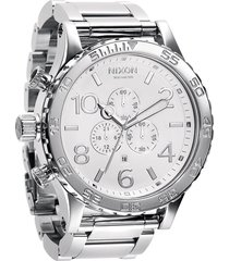 nixon 'the 51-30 chrono' watch, 51mm in white /silver at nordstrom