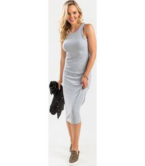 tabby knit midi dress - heather gray