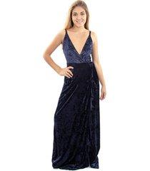 vestido largo breda azul ter maria paskaro