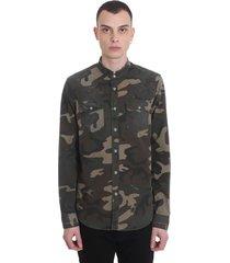 balmain shirt in camouflage cotton