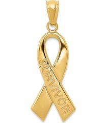 survivor ribbon charm pendant in 14k gold