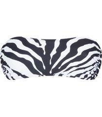 dolce & gabbana zebra print bandeau bikini top - black