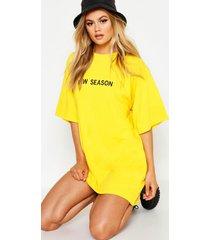 geborduurd new season t-shirtjurk, yellow