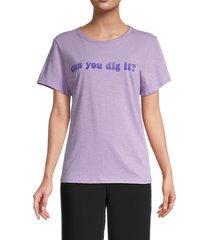 cinq à sept women's cotton short sleeves tee - purple - size m