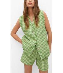 mango women's tweed pocket vest