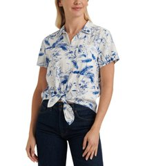 lucky brand printed tie-front collared shirt