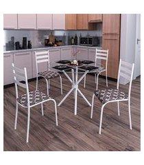 conjunto de mesa com tampo de vidro e 4 cadeiras istambul brancoe marrom