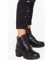 womens climb to the top lace-up ankle boots - black