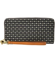 fossil women's logan zip around wallet wristlet