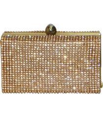 bolsa real arte clutch malha de strass dourada