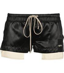 rick owens black ruched drawstring shorts