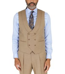 tayion collection men's classic-fit taupe with teal stripe suit separates double-breasted vest