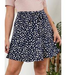 yoins plus talla azul marino lunares cinturón diseño atado diseño falda