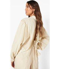 oversized blouse met rug strik, beige