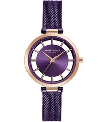 kenneth cole new york ladie's mesh bracelet with transparent dial, 34mm