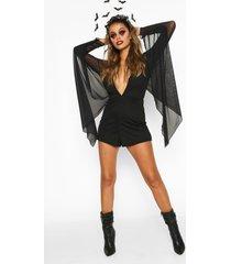 mesh halloween romper met mantel en v-hals, zwart