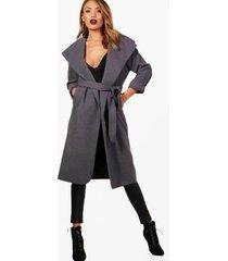waterval jas met ceintuur en grote kraag, houtskool