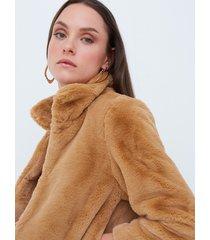 motivi cappotto corto in simil pelliccia donna marrone