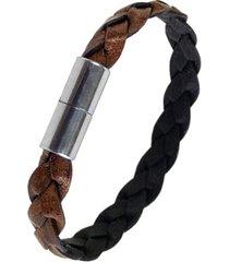 suki men's big sur flat braided leather bracelet