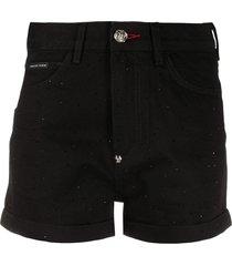 philipp plein crystal-embellished hot pants - black