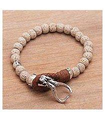 lava stone beaded bracelet, 'rugged adventure' (indonesia)