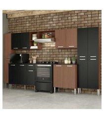 cozinha completa compacta c/ armário balcáo c/ tampo 6 pçs pequim blues multimóveis carv. avelá/pto